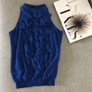 Royal blue ruffle top